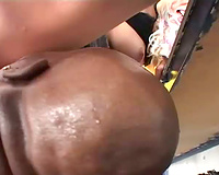 Heavy eye makeup on golden-haired doing a group sex