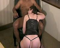 Husband serves his wife – interracial cuckold