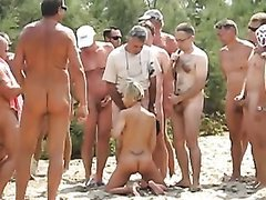 Dogging at Cap d'Agde SLUTTY WIFE sex on beach her hubby film