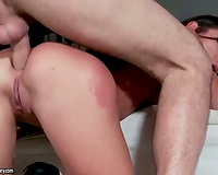 Skinny doxy booty screwed in three-some scene