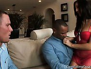 Totally humiliated cuckold husband watches blacks do wife
