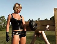 Cuckold Fucked in The Field by Latex Mistress