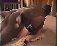 Redhead fucking a large dark penis