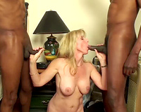 Horny wife found herself two black studs to play her hubby gets to watch it all in details