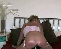 Wife fucking and masturbating using an assortment of sex toys