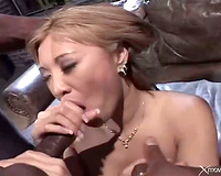 Asian with large fake mounds group-fucked hard