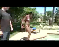 Nice swarthy snatch playing previous to interracial poolside fucking