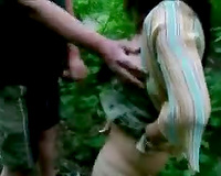 Pervert bitch wife in wood masturbates for voyeur for a stranger