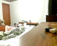 My perverted wife masturbating in bedroom caught by hidden cam