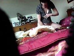 Super hidden cam video of my perverted wife masturbating
