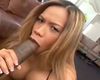 Huge dark ramrod for wicked Asian babe