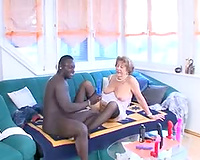 Interracial fucking with a horny mature