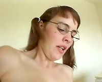Babe with glasses screwed hard in interracial scene