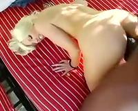 Gorgeous blond enjoys interracial act