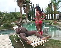 Interracial anal sex poolside