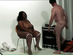 Black fatty sucks his hard white boner