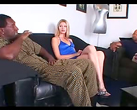 Hardcore interracial three-some for a wicked blond