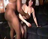 Amateur woman with dark fellow
