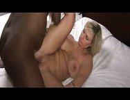 Busty blond slutty wife fucks her black lover