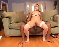 Hot blond babe has some interracial joy