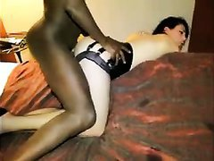 French girl in stockings and lingerie butt fucked by a big black cock Used on: 42