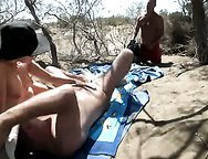 Voyeur Beach White Slutty Wife Blows Husband While Stranger Masturbates