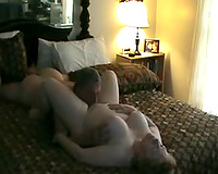 Eating and fucking my chubby mature wife in bed on cam