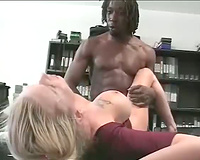 Horny blondie with tattooed breasts got fucked by black stud in the office