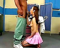 Booty slutty wife deep throats BBC of hungry doctor