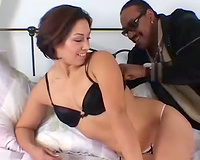 Horny black guy has mutual oral sex with brunette princess