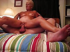 Nasty granny slutty wife with shaved pink cunt rides me on top