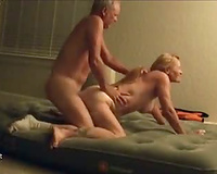 Blonde milf getting fucked from behind in the pussy, then in the ass