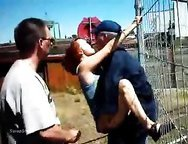 Wife sex outdoors with two dock workers who bang her against fence