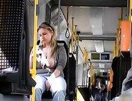 Big Tited Blonde Slutty Wife  Shows Her Boobs In Public Bus