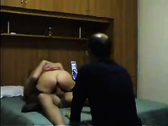 A shaved cuckold older spouse watches how I ride a hawt guy