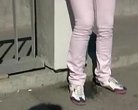 Freaky Russian blondie with nice-looking booty voids urine in her white panties