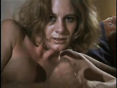 Horny disgraceful light-haired milf jerks off and sucks large schlong