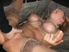 Mega busty golden-haired mama is fucked hard with large dark cock