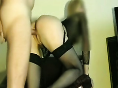 My sexy slutty wife in dark stockings can't live without riding my pecker in cowgirl position