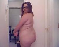 Chubby white BBC slut fully dressed stripteases on web camera