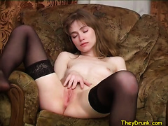 Lovely college dirty slut wife groans sweetly during the time that fingering her slit