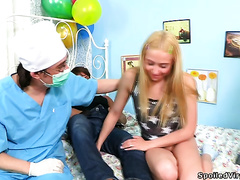 Suzy the wicked golden-haired teen gets Male+Male+Female sex as a Birthday present