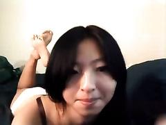 Exotic web camera model with sparkling eyes is engulfing her sex tool like eager