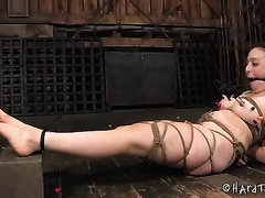 Slave amateur wife with pale skin bounded with ropes receives clamps on her nipps