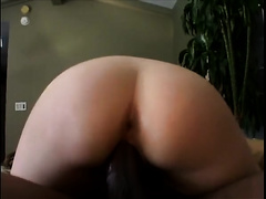 Redhead slut in glasses group-fucked well by a dark chap