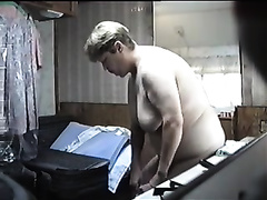 Hidden camera footage of my obese wifey changing clothing