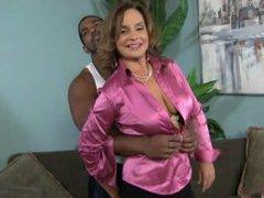 Horny cougar meets darksome – interracial porn
