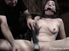Obedient girl got a ring gag in her face hole and punished cruelly
