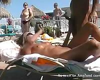 Amateur romantic pair making love on nudist beach
