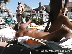 Amateur romantic pair making love on nudist beach